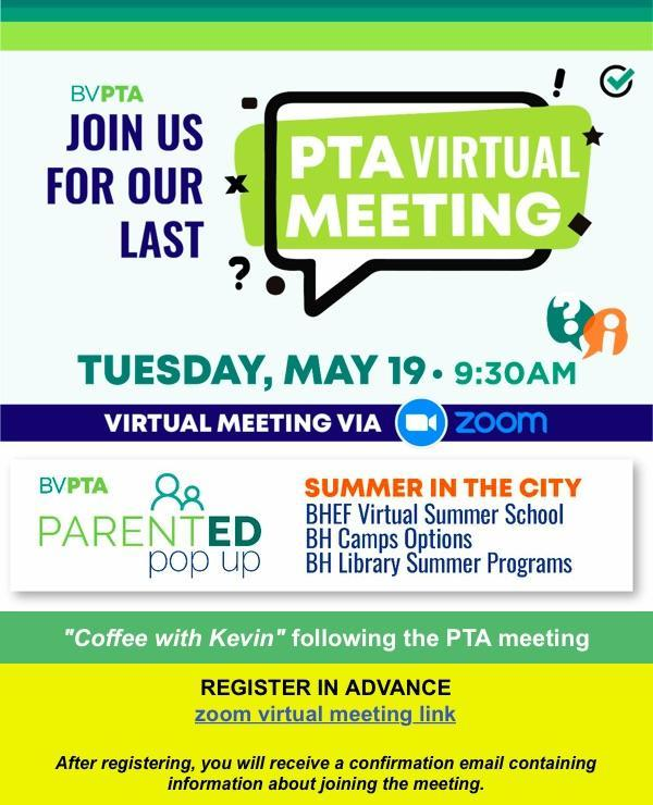 Last PTA Meeting of the Year on Tuesday, May 19 @ 9:30am Featured Photo