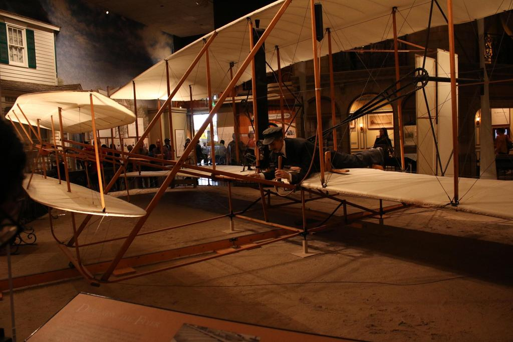 Model of Wright brothers first airplane