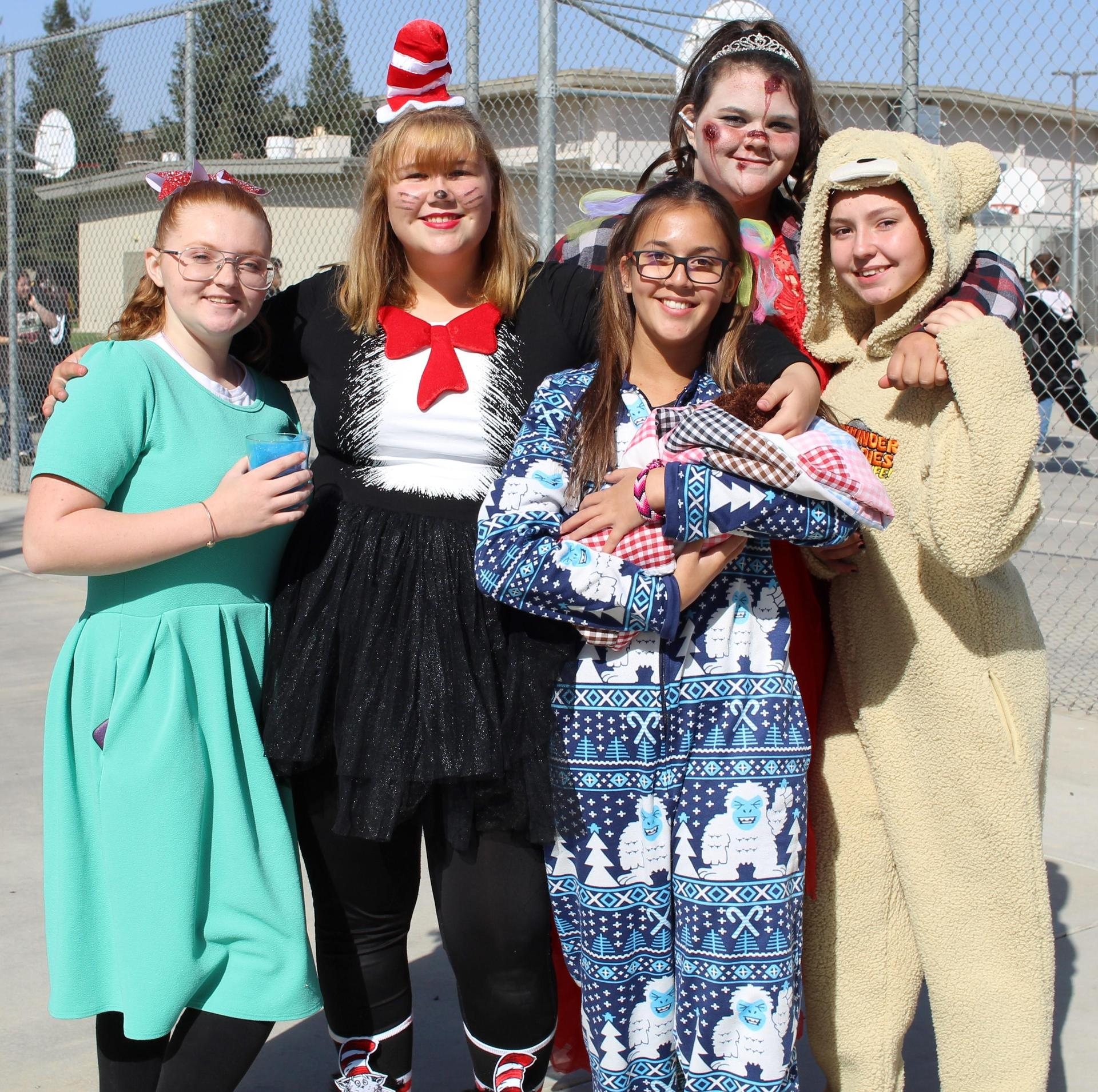 Morgan Penamente , Annie Jackson as cat in the hat, Sierra Godwin as a little girl, Hannah Medeiros as a zombie, and Lillien Dering as ted