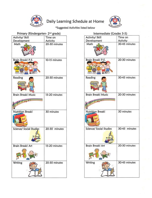 Daily Learning Schedule and Student Learning Extension Opportunities at Home! Thumbnail Image