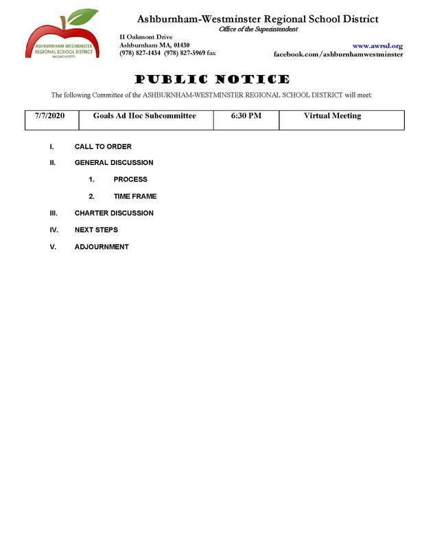 Goals Ad Hoc Subcommittee Agenda