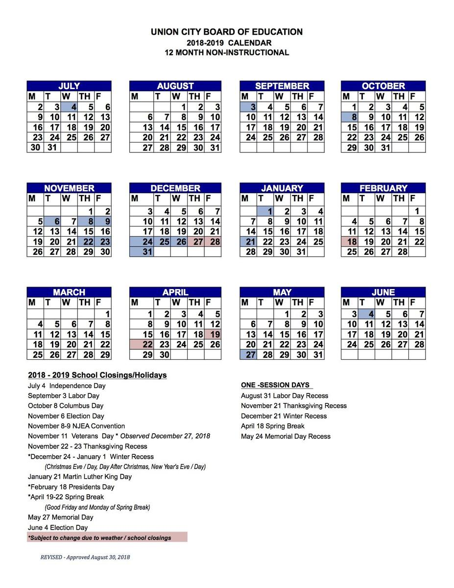 12 month employe calendar 2018-2019 & Link