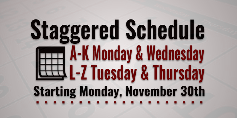 50/50 Staggered Schedule Starting November 30 Featured Photo