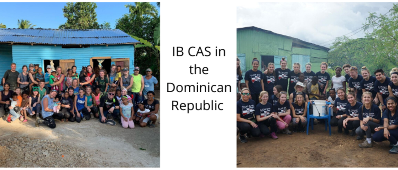 2 pictures of the IB Cas student group in the Dominican Republic