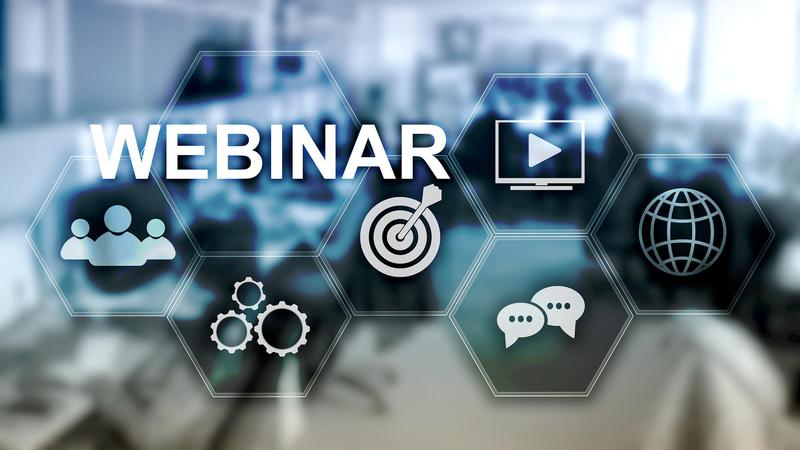 Webinar, Personal development and e-learning concept on blurred abstract background.