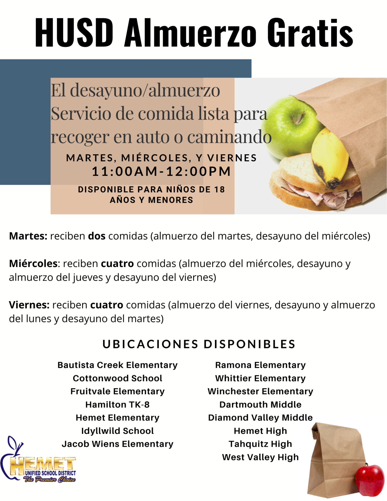 Meal Service Information in Espanol