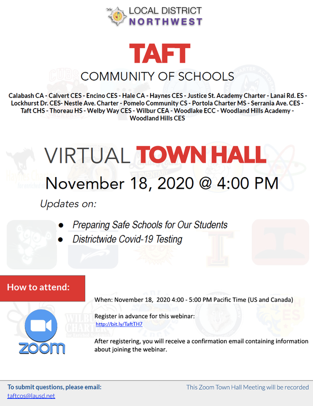 TAFT COS Town Hall - Nov 18 at 4pm Featured Photo