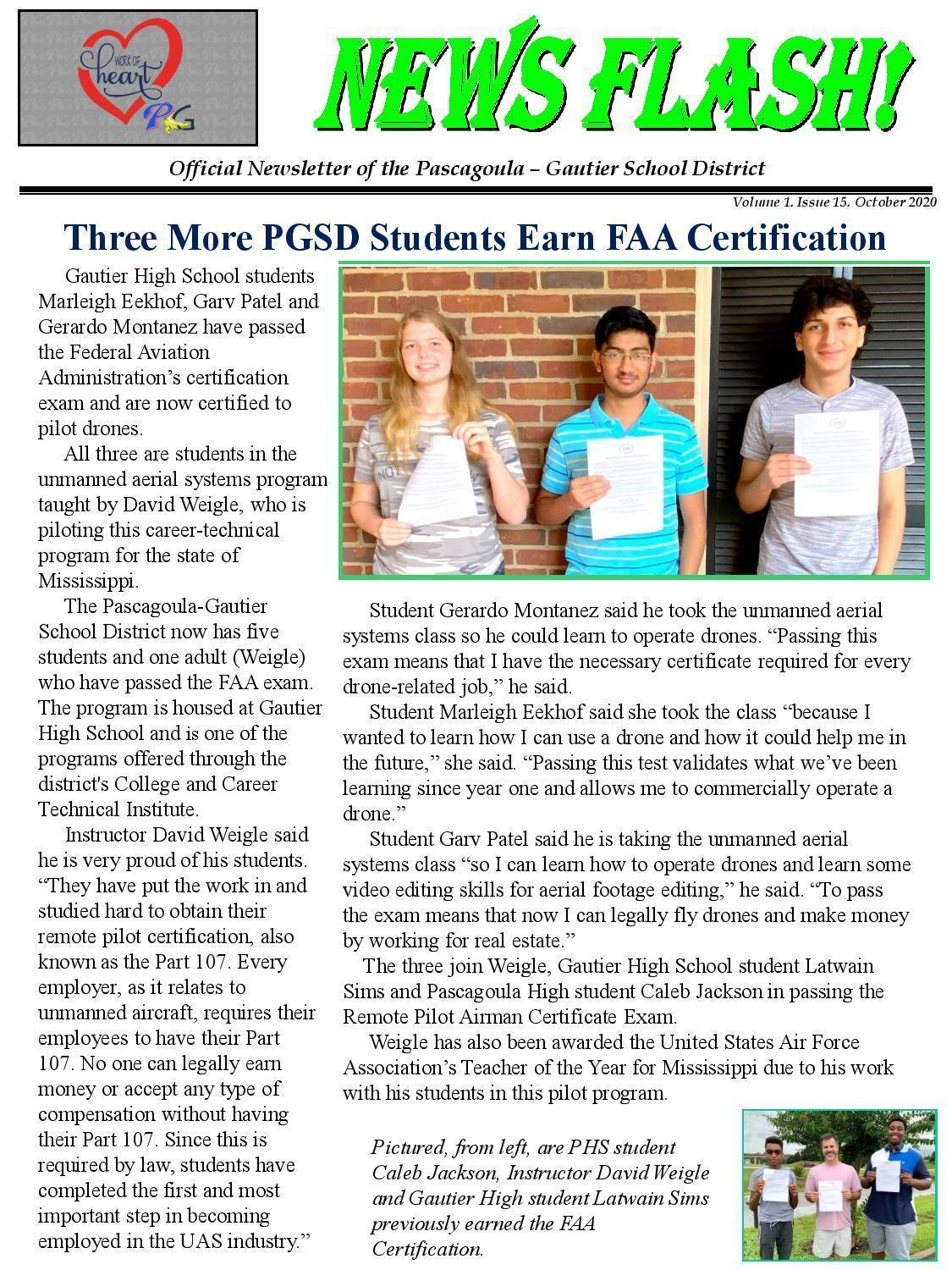 3 students holding certificates