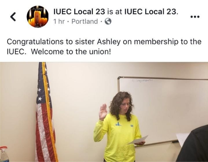 Ashley being sworn into the union