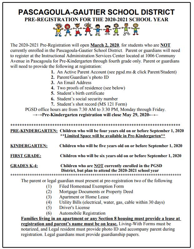 pre-registration information in english