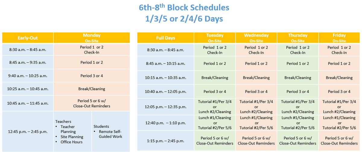 Image of daily schedule - please contact Ed Services if you need assistance