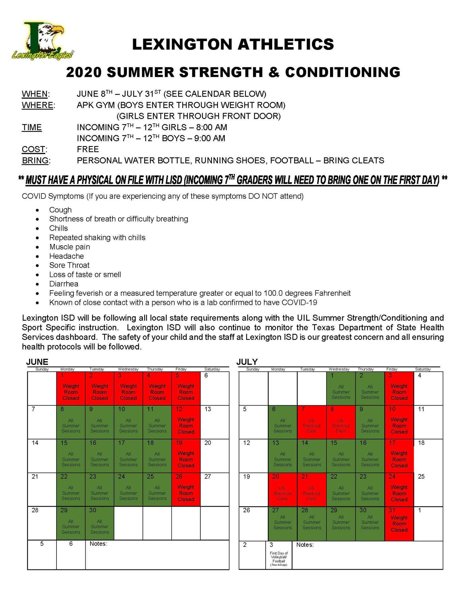 Summer Stretch & Conditioning Info