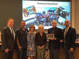 City of brea receiving the friends of education award