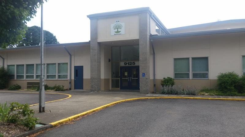 The front entrance to Oak Grove Academy