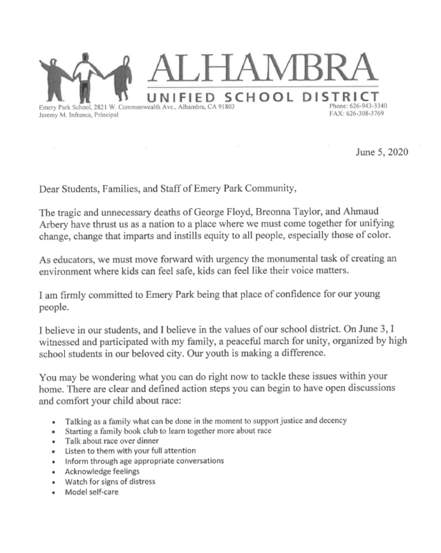 Statement from our Principal, Mr. Infranca on recent events. Featured Photo