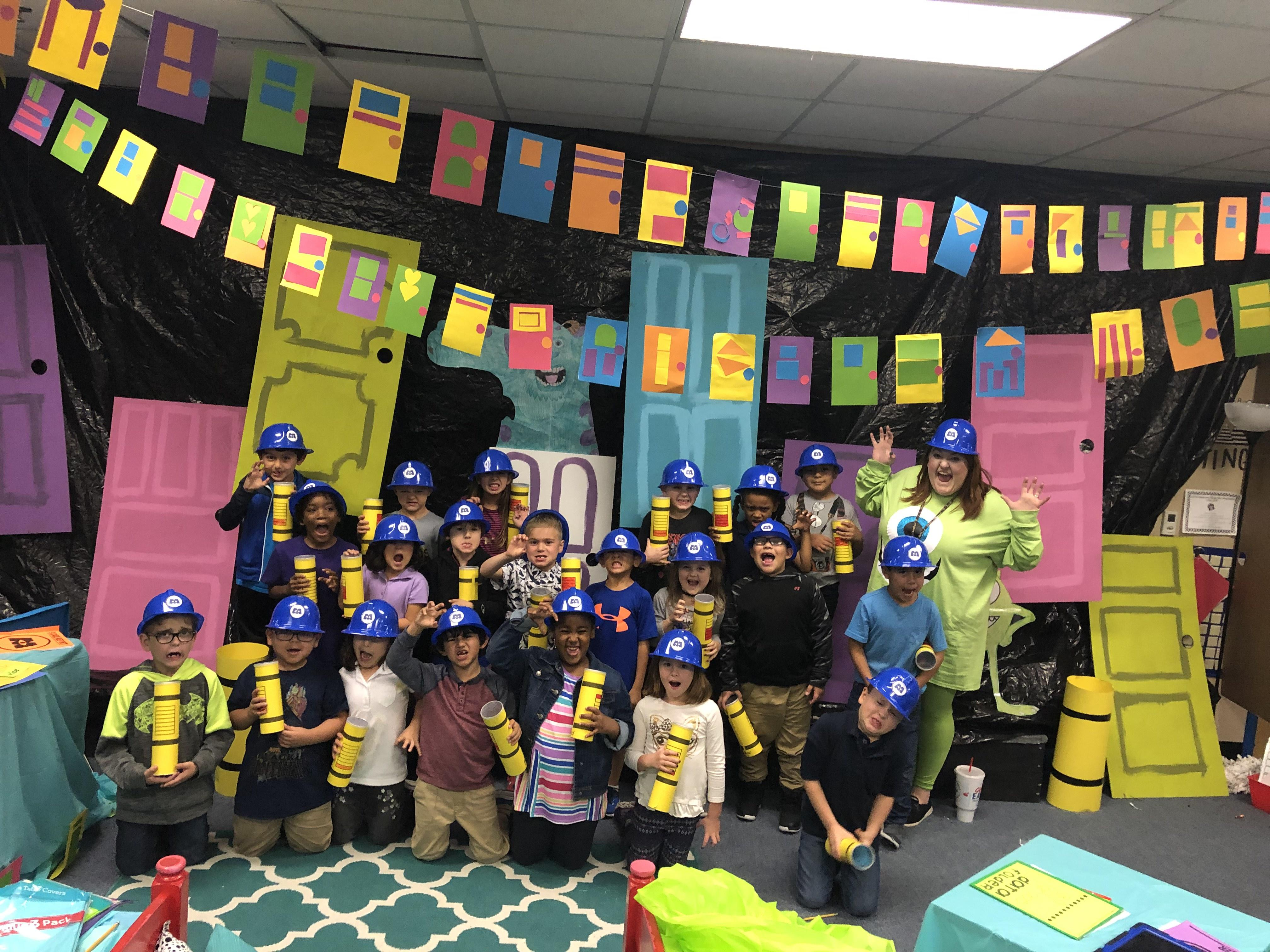Katie Pearson's first graders had a scare-ific day when their classroom was turned into Monsters, Inc.
