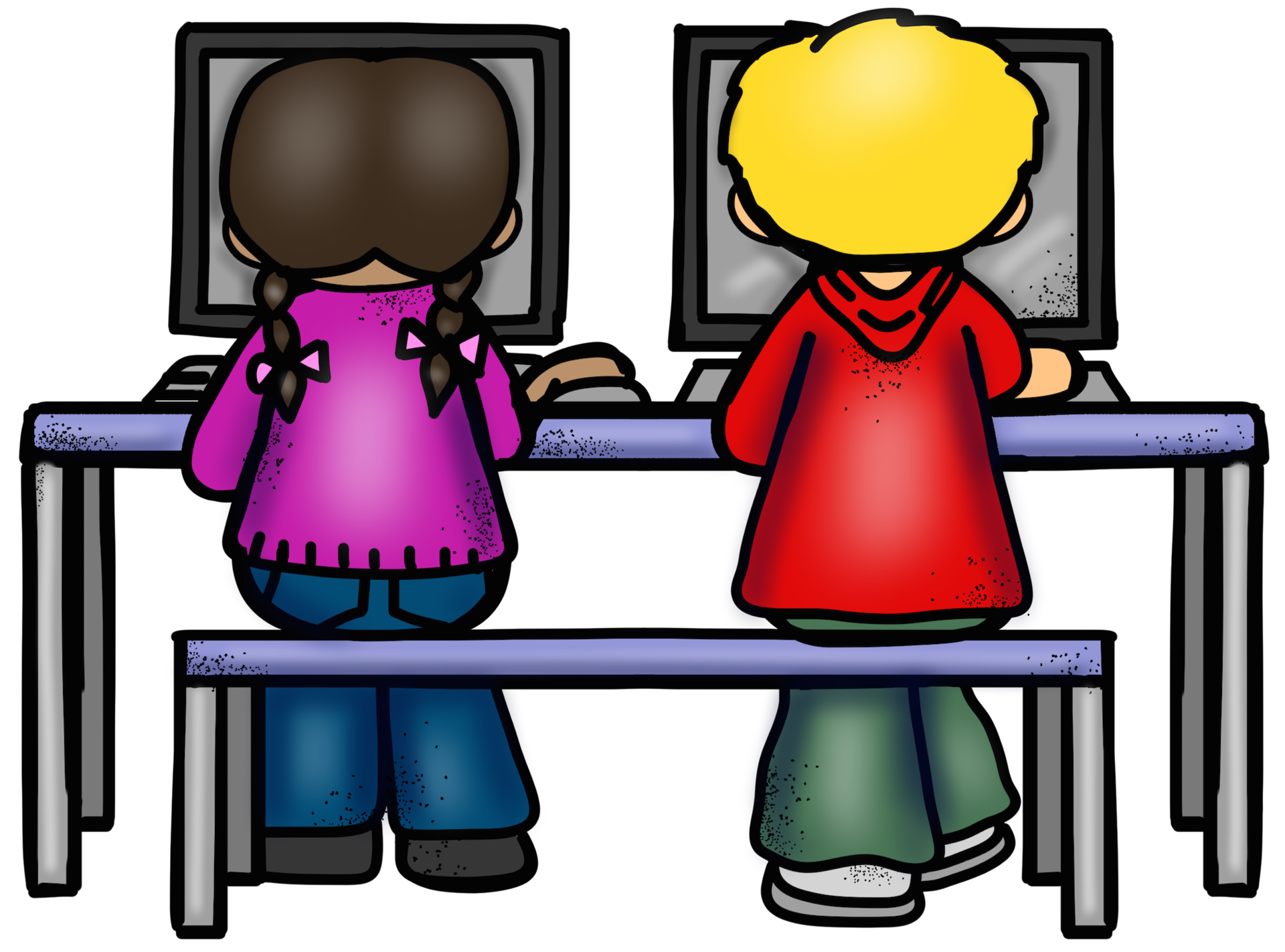 Kids on Computer Icon Photo