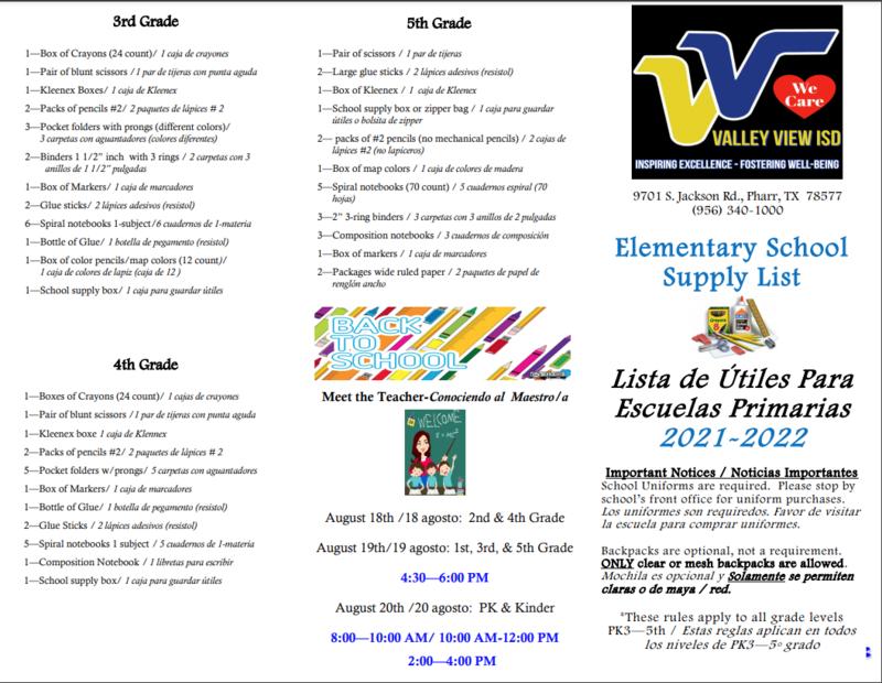 Revised school supply list. Thumbnail Image