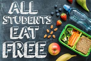 Image that reads All students eat free - no links