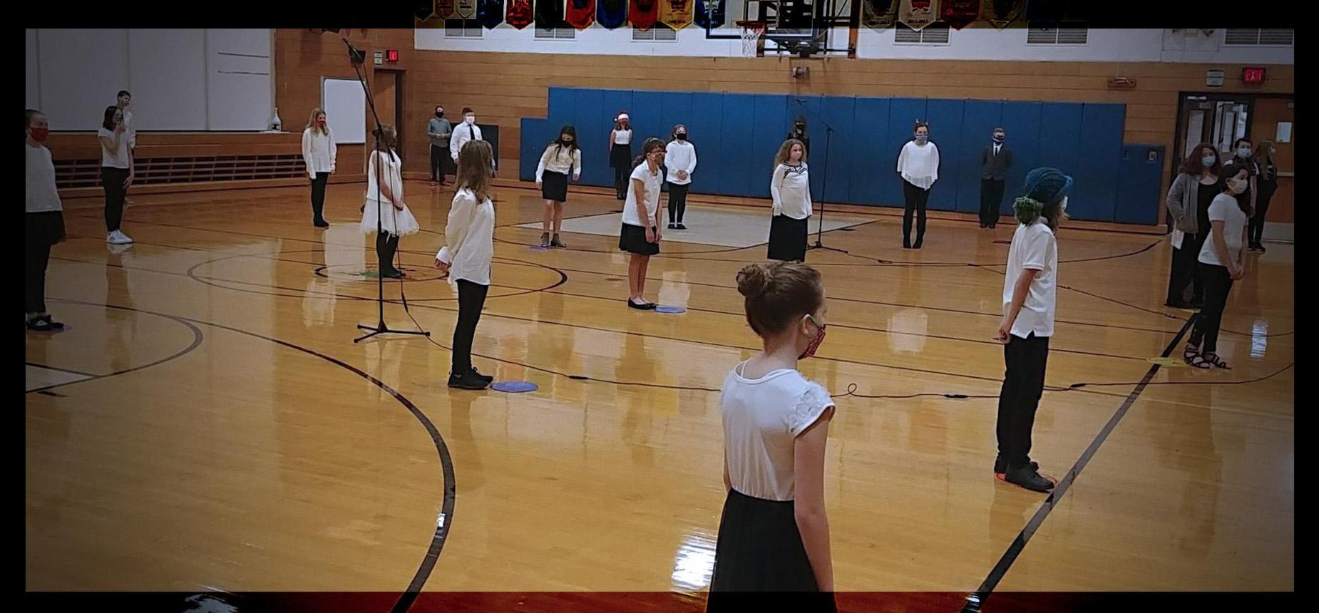 6th grade chorus concert in the gym