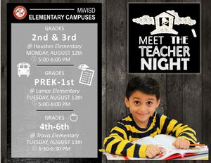 MWISD Elementary Campuses Back to School Night Dates