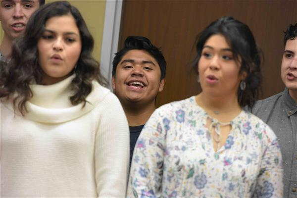 DPHS Swing Choir and Carpenter Elementary Sign Language Club share holiday songs at ESC