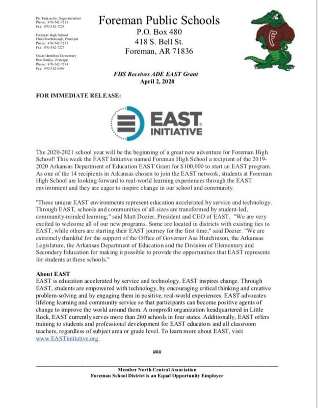 EAST announcement