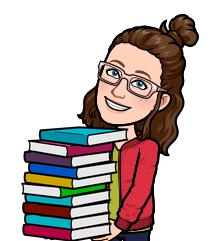 Image of Ms. Alexa holding books as a cartoon (bitmoji)