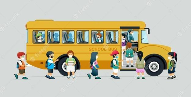 students getting on bus wearing masks toon photo