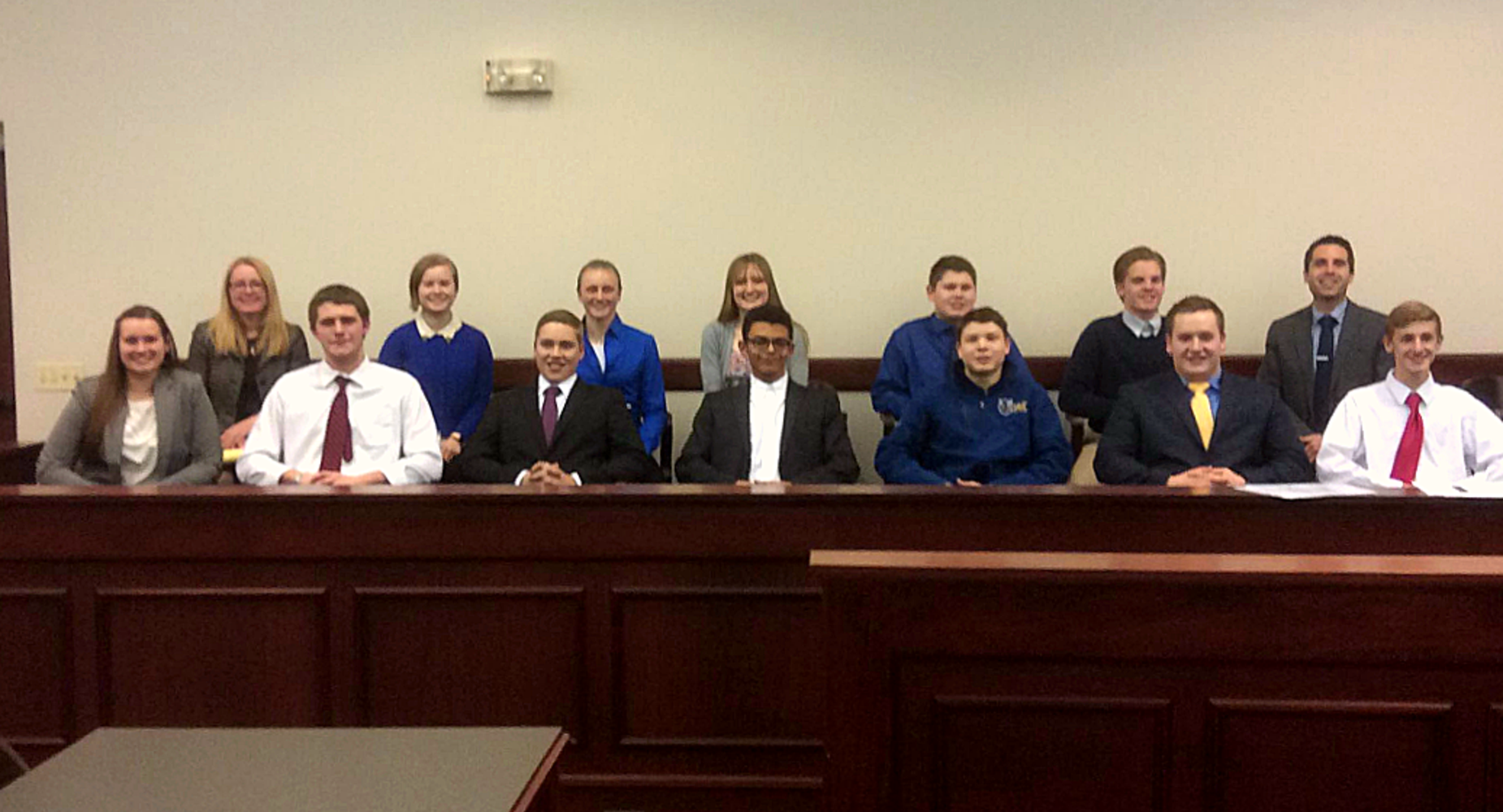 Mock Trial Team in Courtroom Jury Box
