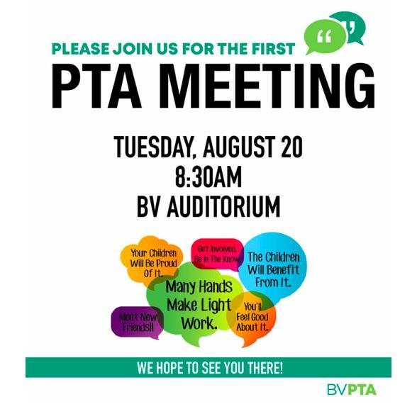 First BV PTA Meeting Tomorrow 8/20 Featured Photo