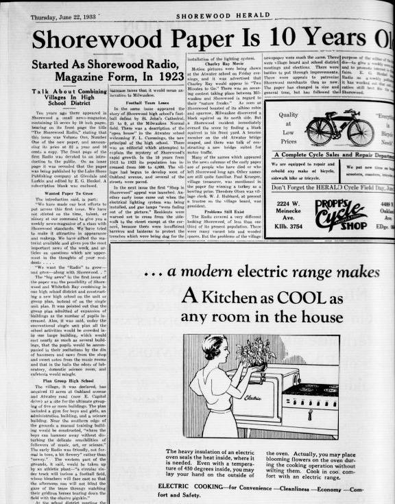Old Shorewood Newspaper