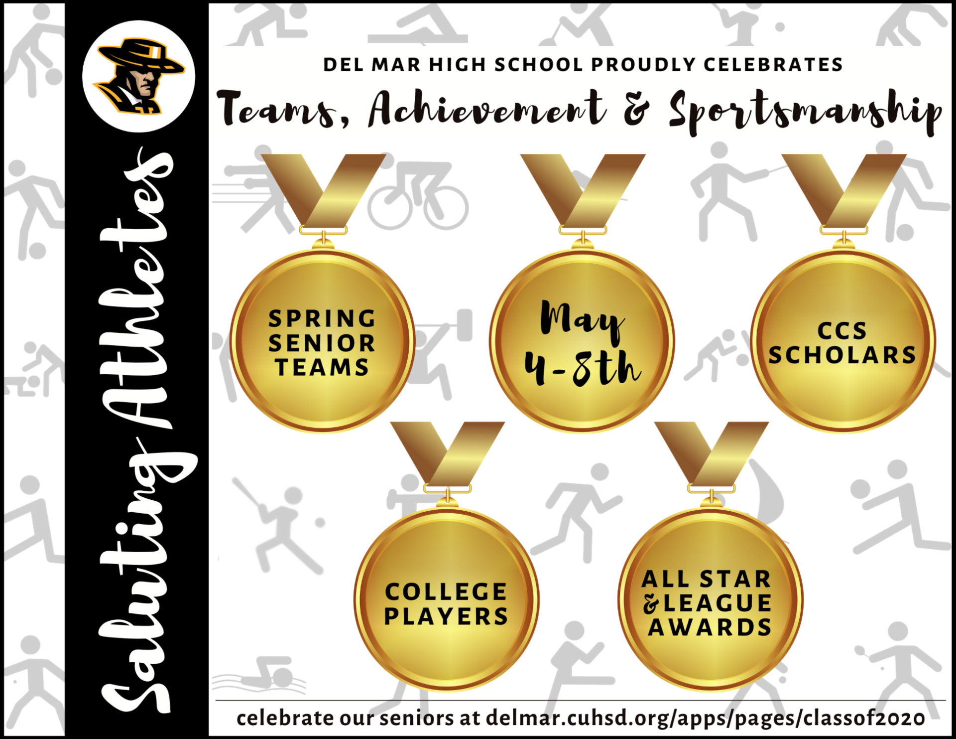 image of flyer introducing athletics senior recognitions from may 4-8, 2020