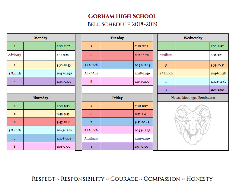 NEW GHS Bell Schedule for next year - DOWNLOAD the bell schedule template! Thumbnail Image