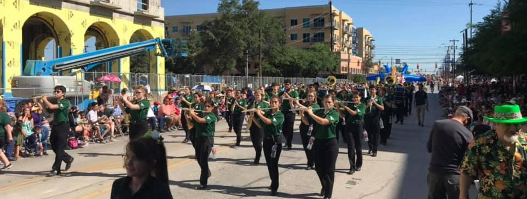 Our Taylor High School Band & Color Guard marched in the Battle of Flowers Parade in San Antonio.  The parade is the oldest in the Fiesta celebration, having been presented since 1891.  This year, there were 550,000 people in attendance.