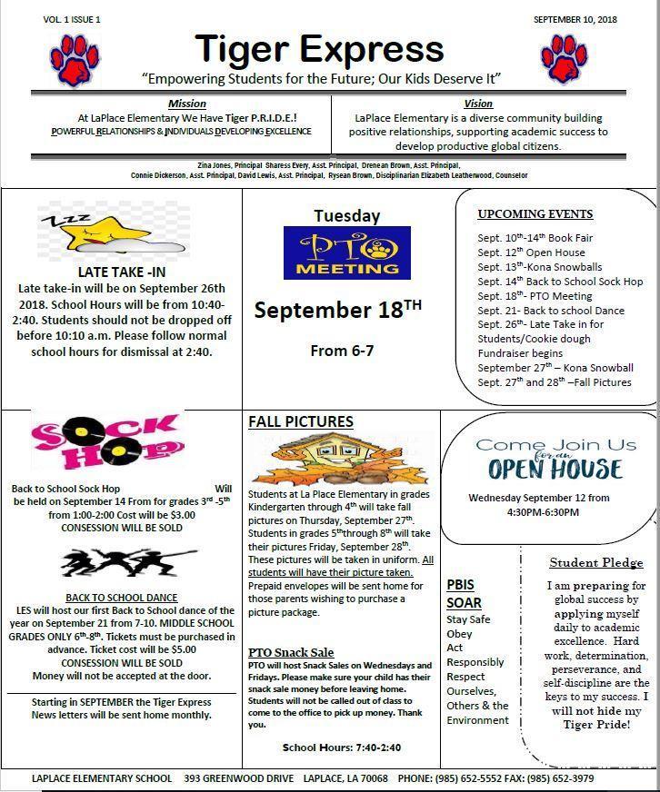 Tiger Express Month of September
