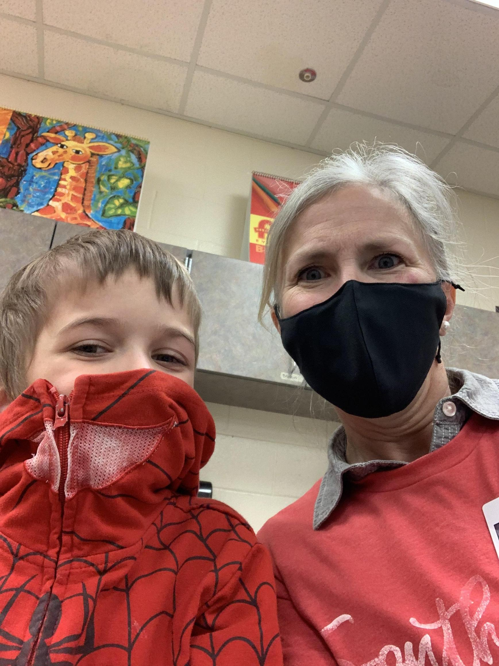 Mrs. Walker with a 1st grader