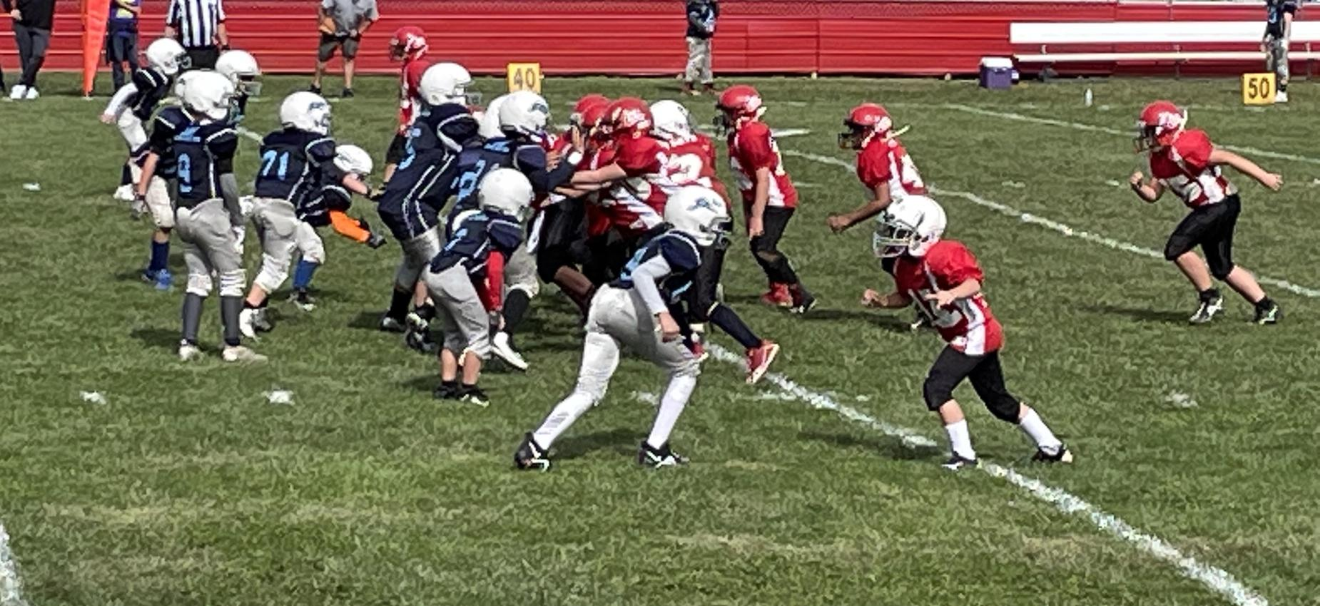 Football players play on a field.