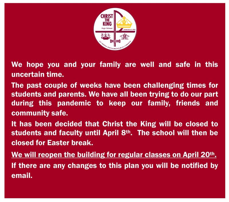 Message Regarding Reopening of Christ the King High School Featured Photo