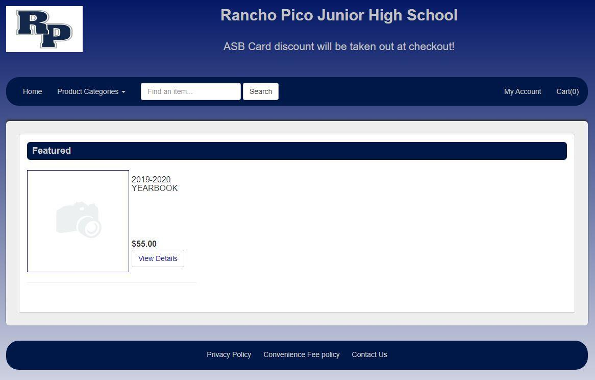 Screenshot of Rancho Pico Webstore