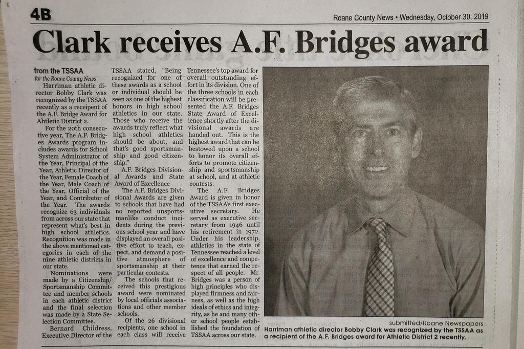 Clark receives A.F.Bridges award