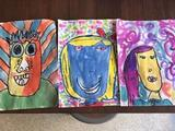 James Rizzi self portraits with second grade. Love these colors! His motto was