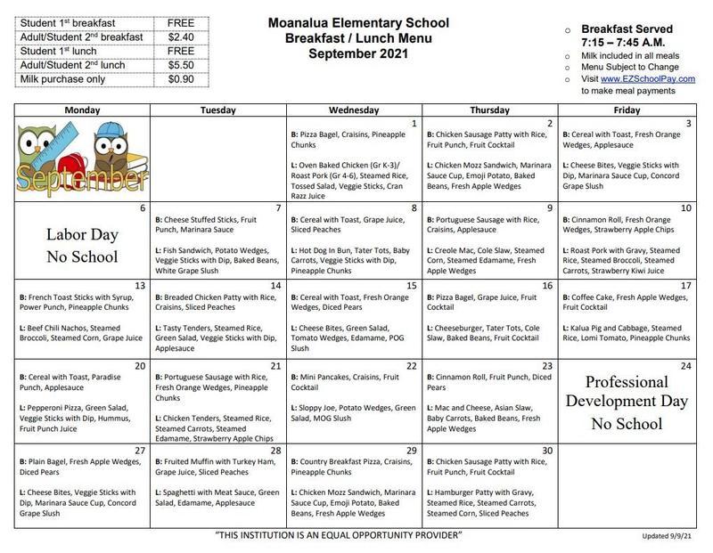 September 2021 Breakfast/Lunch Menu (Revised 9-9-21)