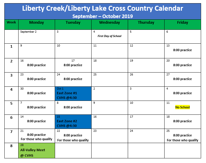 Liberty Lake and Creek Practice Schedule for 2019 Season