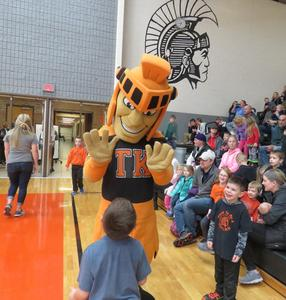 The TK Trojan greeted youngsters.