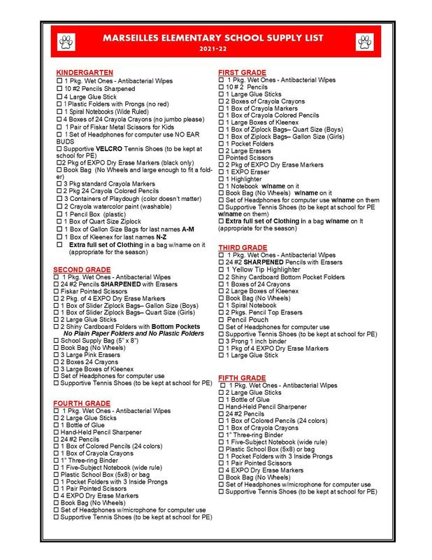 2021-22 School Supply List Featured Photo