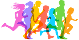 Brightly colored picture of children running