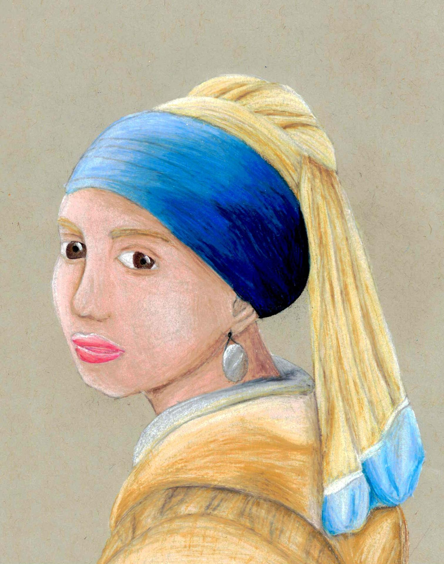 """An elementary school student's detailed color pencil rendition of Vermeer's """"Girl with a Pearl Earring"""""""