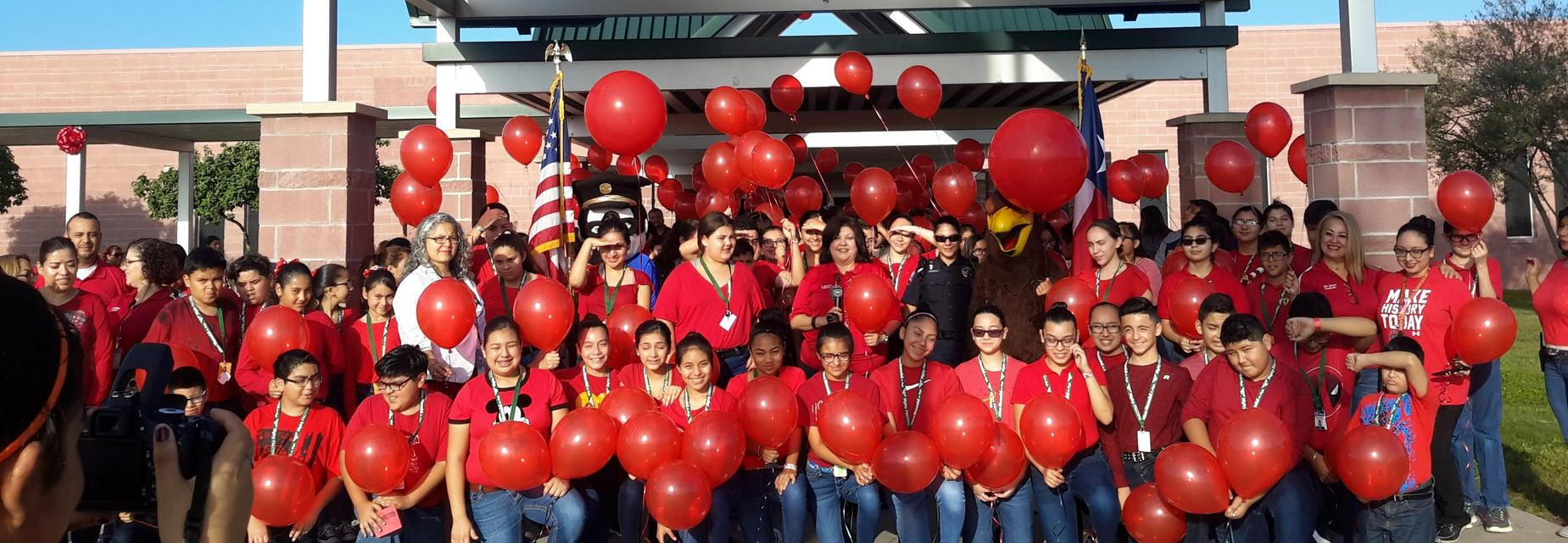 Red ribbon week balloon release