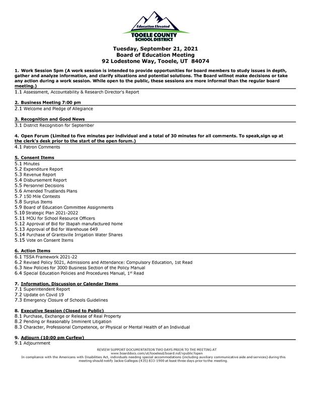 09/21/2021 BOE agenda